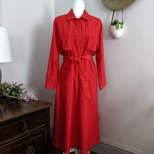 Vintage Orvis Long Red Trench Coat Size Medium